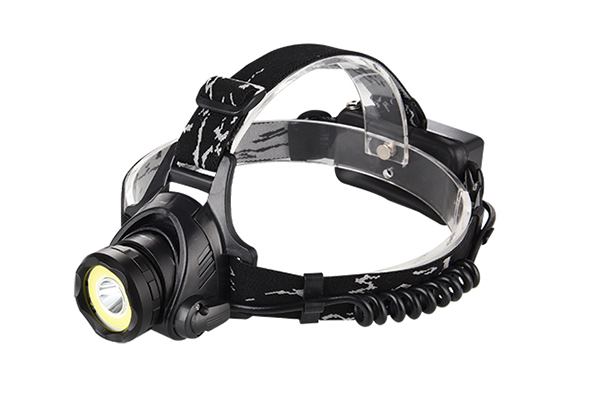 Hard hat headlamp COB LED red green white aluminum body