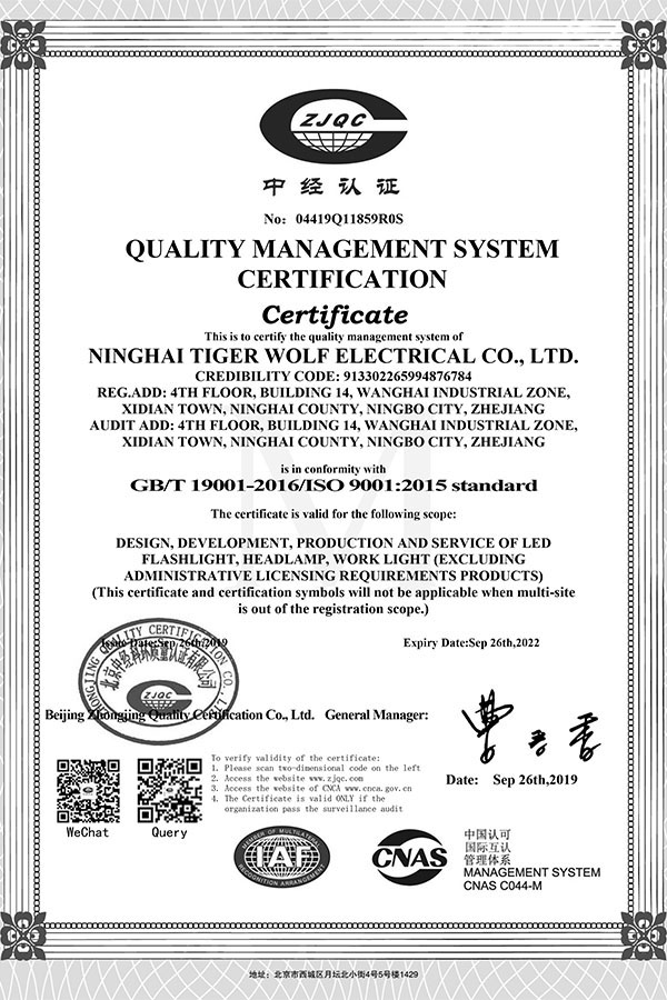ISO9001 QC System